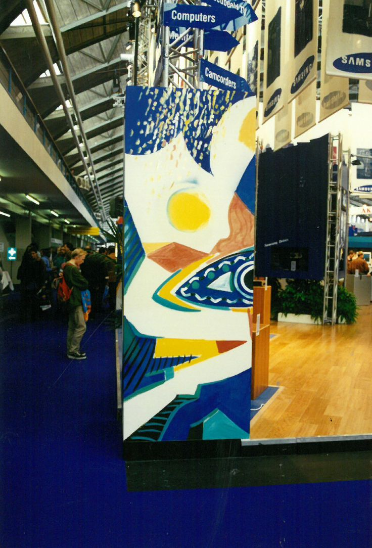 The very first #exhibition #booth of The Inside stand building in 1996 - hand-painted pillars