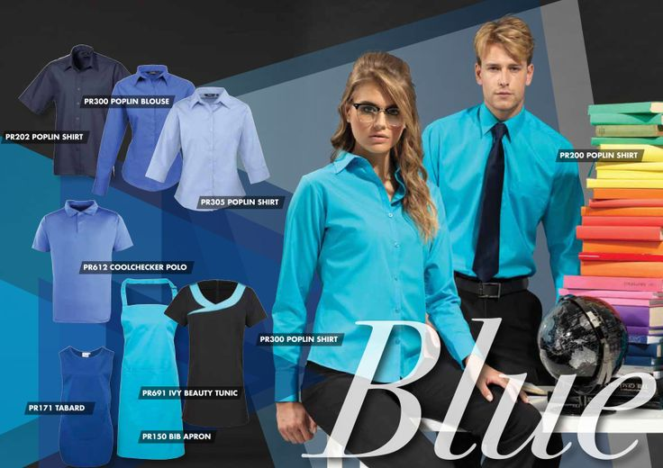 It's all about blue this season - here's how to use the colour across staff uniforms to re-enforce your corporate colourings.
