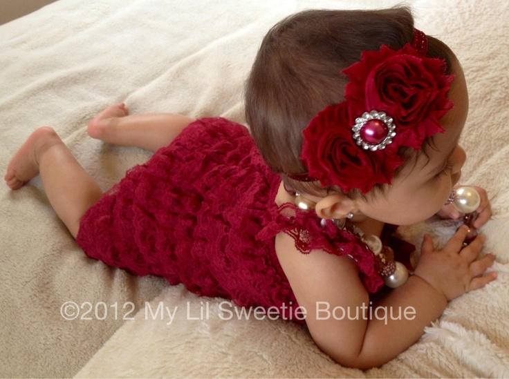 Burgundy Wine Cranberry Vintage Lace Petti Romper - Newborn Outfit - Baby Girl Outfit - Toddler- Christmas Outfit. $21.95, via Etsy.