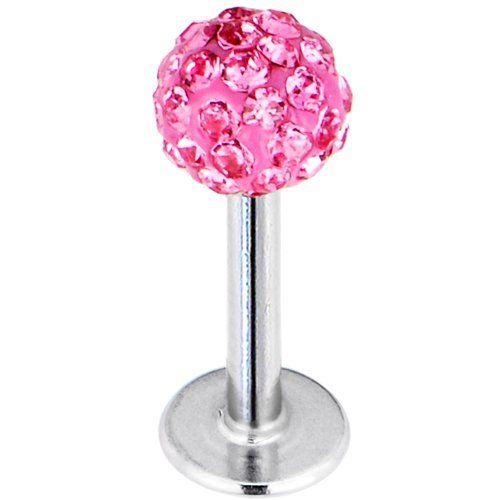 16 Gauge Pink Ferido Ball Labret Monroe Tragus MADE WITH SWAROVSKI ELEMENTS