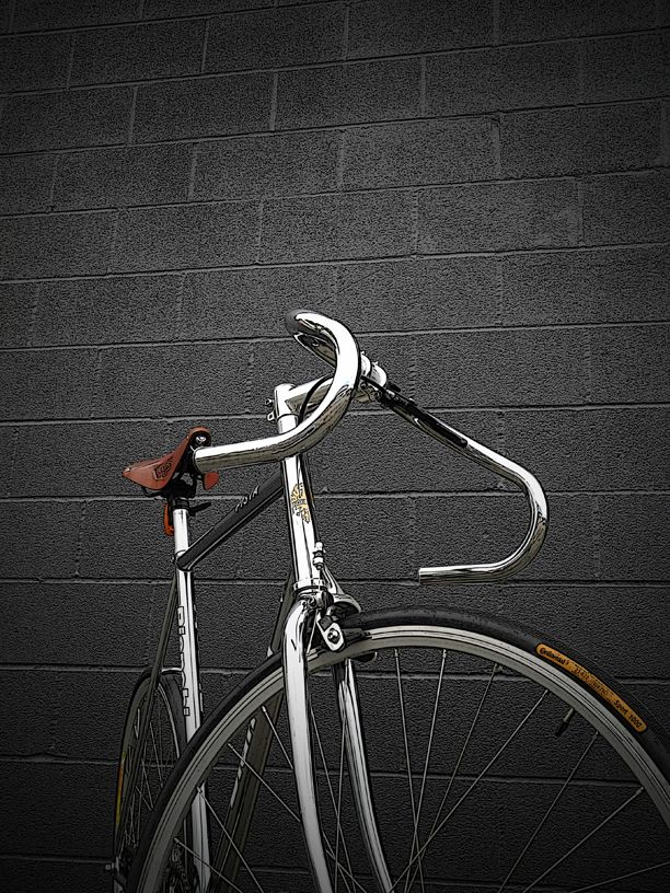 Chrome Bianchi Pista - The seat style and frame/handlebar design make it vintage.