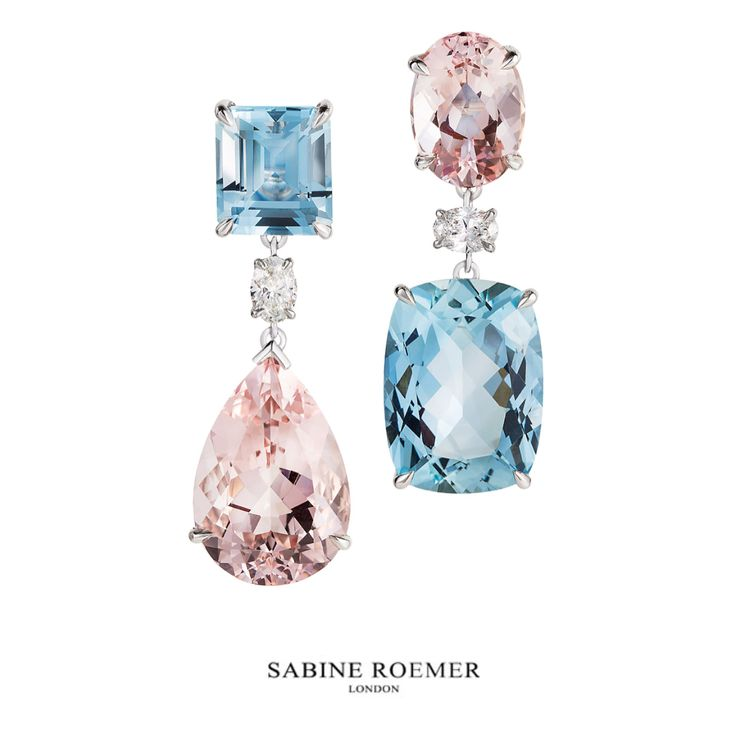 Aquamarine and morganite earrings with diamonds by Sabine Roemer (@sabineroemer) on Instagram