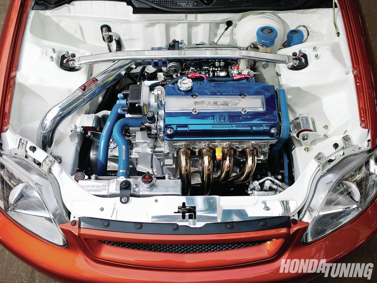 Sweet engine bay; check out the tucked A/C lines and condenser - 2000 Honda Civic SiR Sedan - The Heirloom Chassis via HondaTuningMagazine.com