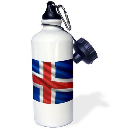 3dRose Flag of Iceland waving in the wind, Sports Water Bottle, 21oz, White