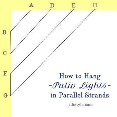 Attractive How To Hang Patio Lights In Parallel Lines   Illistyle.com