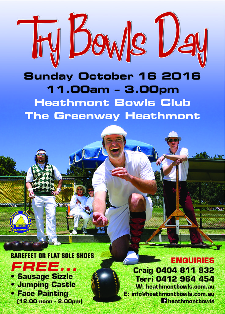 Free Try awn Bowls Day 2016 at Heathmont Bowls Club