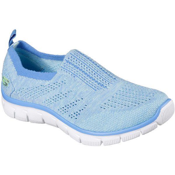Skechers Women's Empire - Inside Look Blue - Skechers Walking Shoes ($70) ❤ liked on Polyvore featuring shoes, blue, blue shoes, skechers shoes, lightweight walking shoes, mesh shoes and skechers footwear