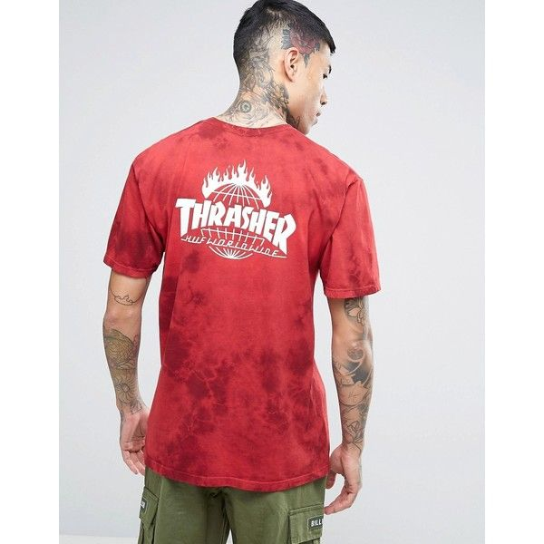HUF x Thrasher Tie-Dye T-Shirt With Back Print ($61) ❤ liked on Polyvore featuring men's fashion, men's clothing, men's shirts, men's t-shirts, red, j crew mens shirts, mens cotton shirts, mens leopard print t shirt, mens jersey shirts and mens patterned t shirts