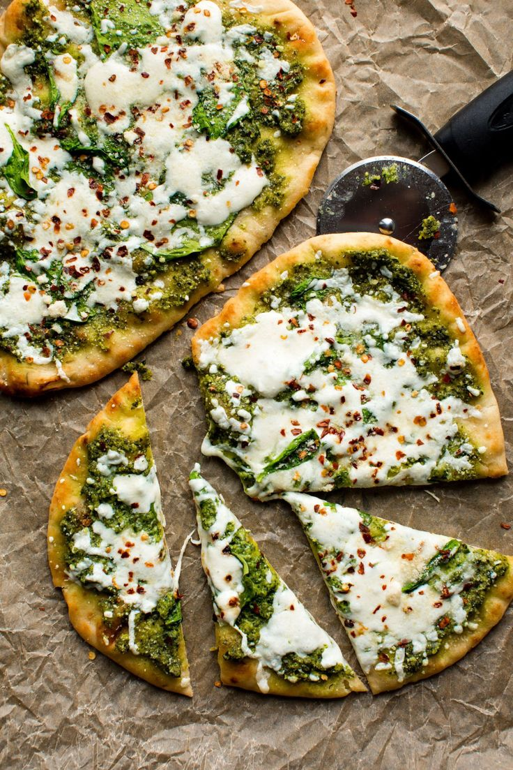 In a hurry? I like to use store-bought naan to make a super quick meal. Top with pesto and mozzarella with a little shake of red pepper flakes to heat things up!