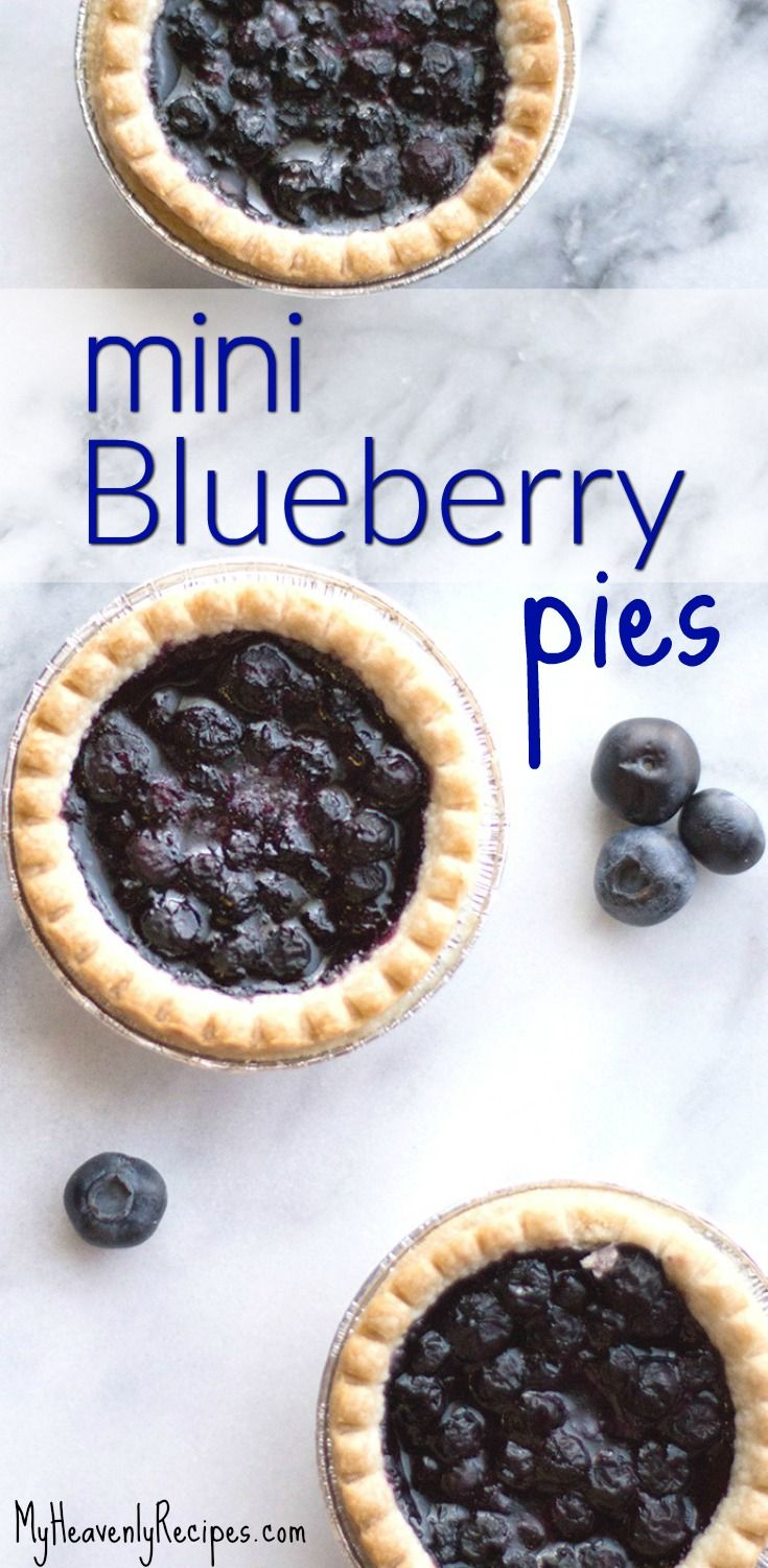 Love blueberries? You'll love this recipe! Mini Blueberry Pies Recipe - a super simple dessert recipe that will impress your guests. Serve each guest a gorgeous blueberry mini pie that will impress! #dessert #recipe #myheavenlyrecipes #blueberry #pies #minipies #pierecipes