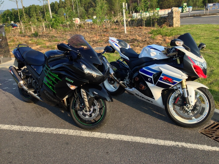My ZZR1400 and Simon's GSXR1000 out for a ride
