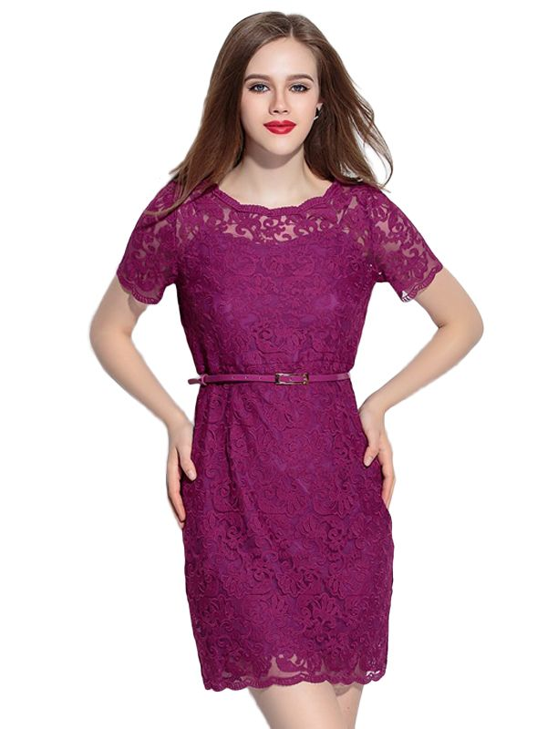 Shop Solid Embroidery Short Sleeve Dress With Belt online at Jollychic,FREE SHIPPING!