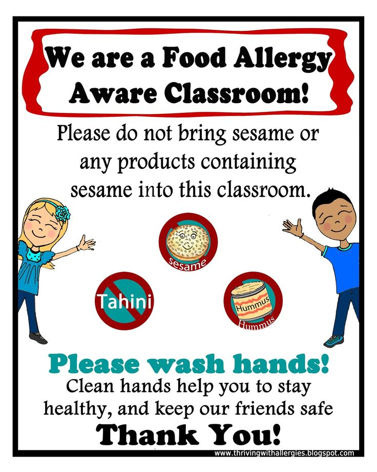 Thriving With Allergies: Food Allergy Alert Daycare/School Handouts and Posters