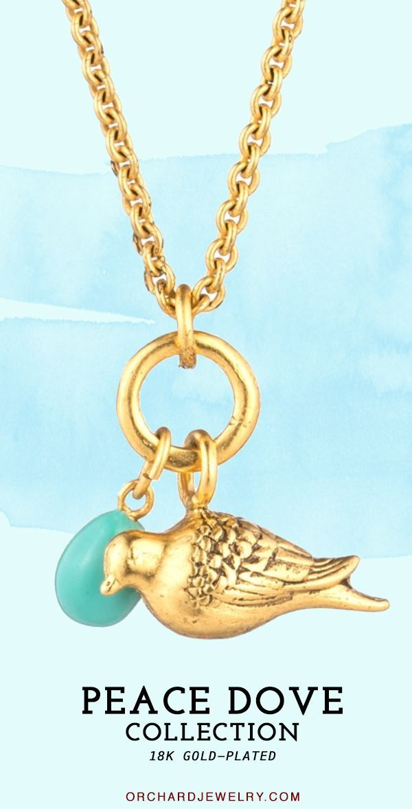 18K Gold Plated statement piece featuring a Peace Dove Bird by Orchard Jewelry. This nature-inspired Gold Pendant Necklace was sketched from nature and is a perfect bird lover gift. Double the gold chain and pair it with classic floral prints and other unique and beautiful outfits. #peacedove #gold #necklace