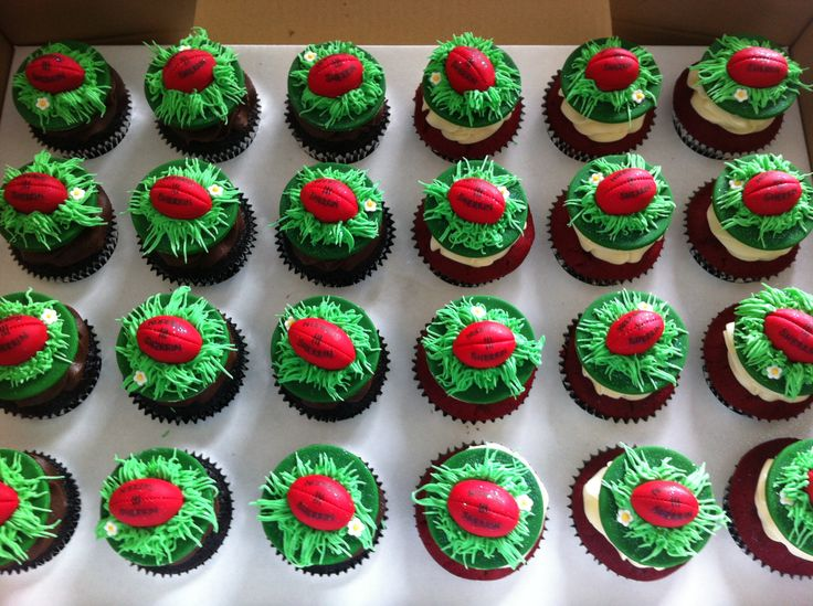 Afl Grand Final Day Cupcakes With Red Sherrin Footballs