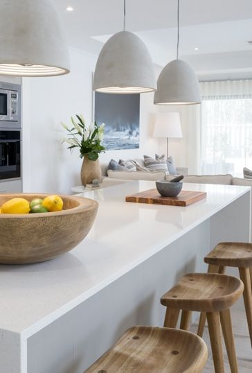 No sink in the island yay! Coco Republic Interior Design neutrals with white, dove grey and stone accents.