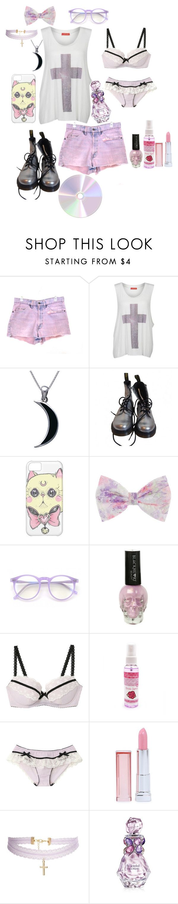 """pastel goth"" by red-foxess-and-wolf ❤ liked on Polyvore featuring Levi's, Influence, Carolina Glamour Collection, Dr. Martens, Wildfox, Maybelline, ASOS and Vera Wang"