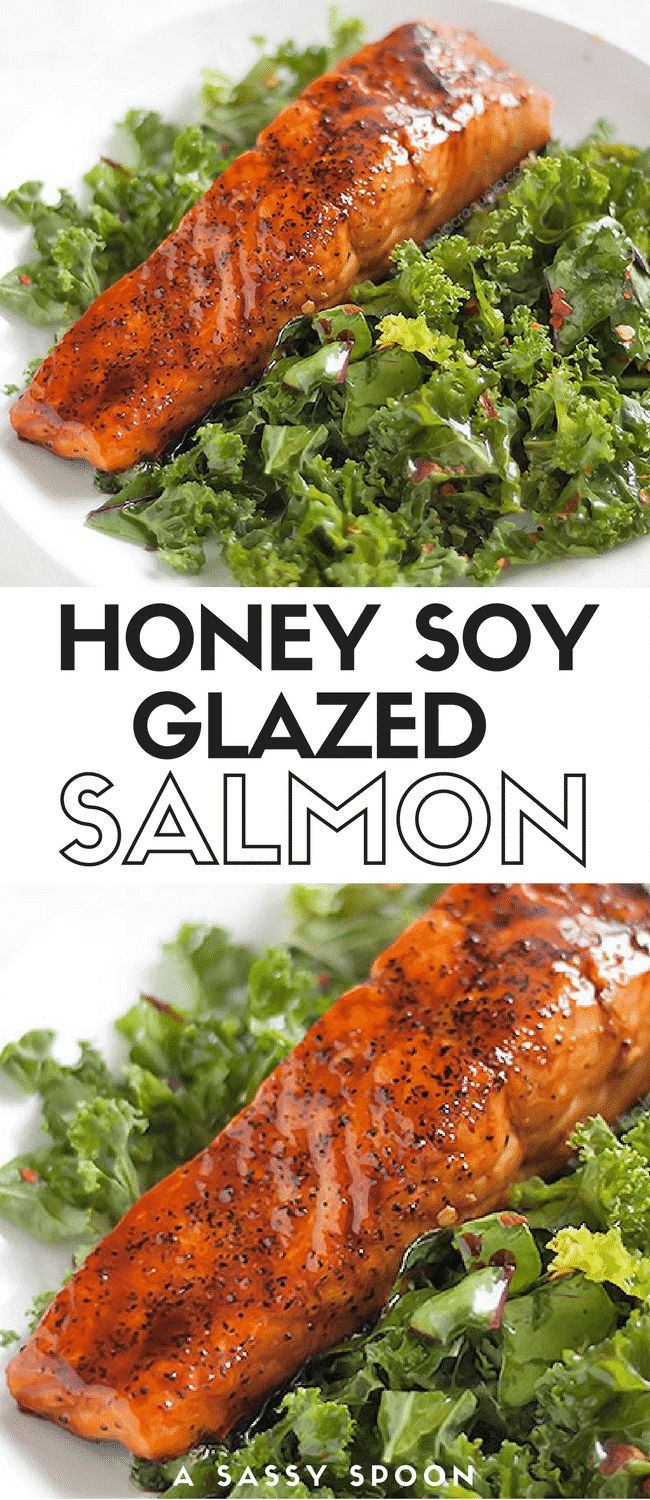 Salmon glazed with honey, soy sauce, and lime juice with a simple spicy kale salad made with olive oil, salt, pepper, and red pepper flakes. via @asassyspoon