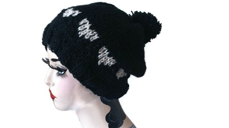 Black Alpaca Hat Heart Fair Isle Rockabilly Ski Beanie Pom Pom Xmas Gift Bobble Merino Wool by thekittensmittensuk on Etsy