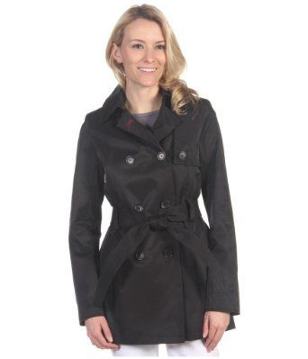 Tommy Hilfiger Women's Black Double Breasted Lightweight Hooded Jacket with Belt - Sizes XS - XL