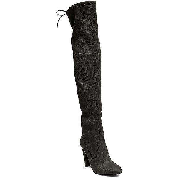 Steve Madden Gorgeous Boots Stilettos ($150) ❤ liked on Polyvore featuring shoes, boots, black, over-the-knee boots, black thigh-high boots, black over the knee high heel boots, over the knee high heel boots, black boots and faux-fur boots