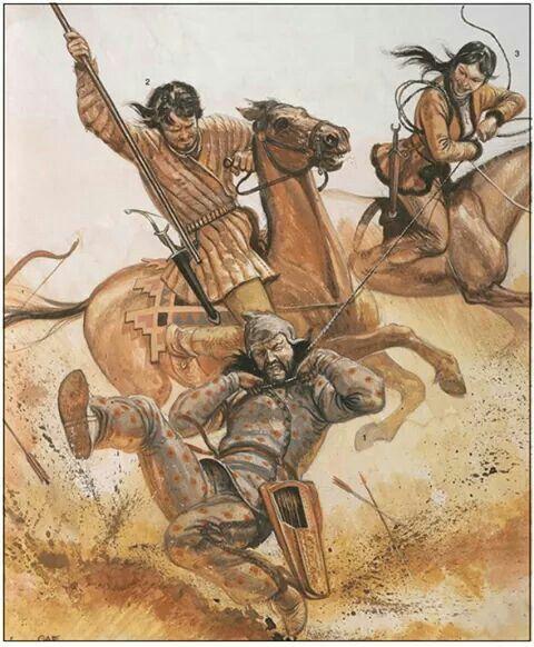 Mujer sarmata cazando a un escita con la ayuda de un lancero en el siglo IV a.C por Gerry Embleton