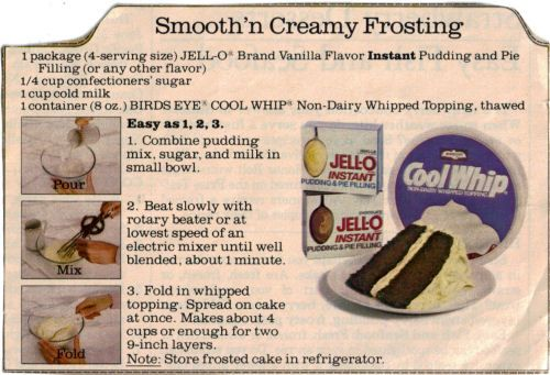 Smooth'n Creamy Frosting - made with Cool Whip and instant pudding.  This is a quick and easy recipe - Recipe Curio