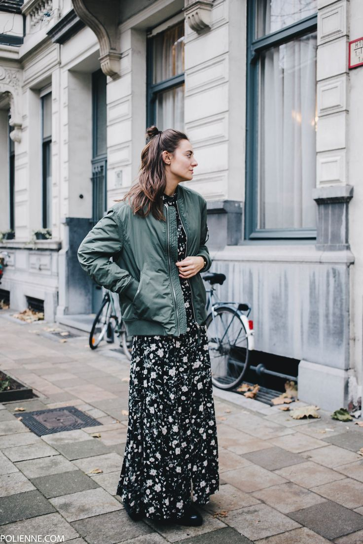 POLIENNE | wearing a WEEKDAY bomber, BERSHKA floral maxi dress, RIVER ISLAND boots / in Antwerp, Belgium