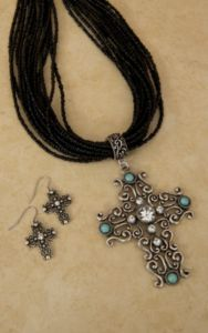 Cindy Smith Black Beaded with Silver, Turquoise and Rhinestone Filigree Cross Jewelry Set | Cavender's