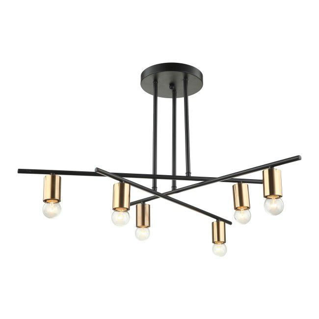 Lampa Wiszaca Normani 6 X 40 W E27 Czarna Black Pendant Lamp Pendant Lamp Lamp