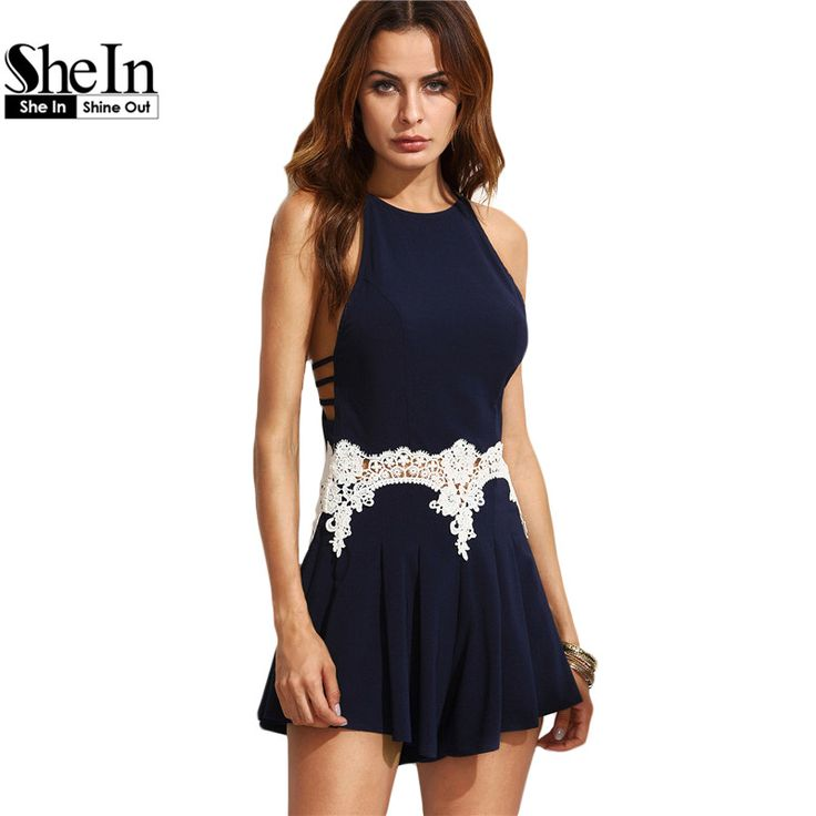 SheIn Sexy Jumpsuit For Ladies Navy Cut Out Sleeveless Playsuits Womens Summer Style Appliques Spaghetti Strap Romper