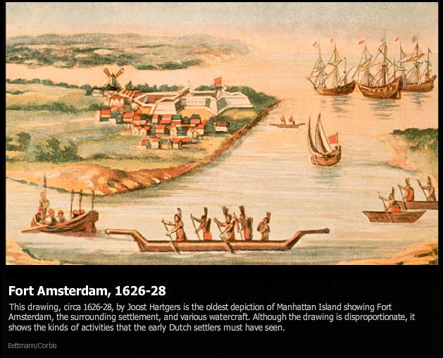 Fort Amsterdam, 1626, showing interaction between Native American tribes (Lenape and  Mohawk) and Dutch traders.  Note the windmill.
