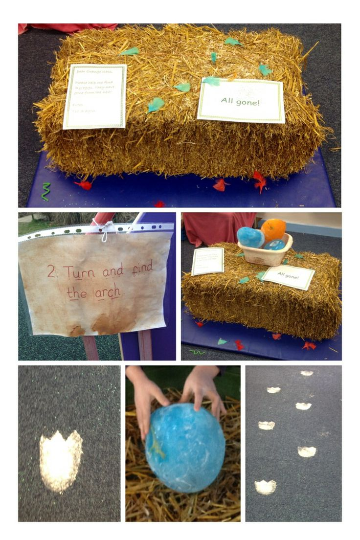 Dragon hunt phonics activity. An empty nest with a letter from the dragon asking the children help find the eggs! Green glitter trail, flour footprints on the floor, clues and balloons with dragons frozen in them.