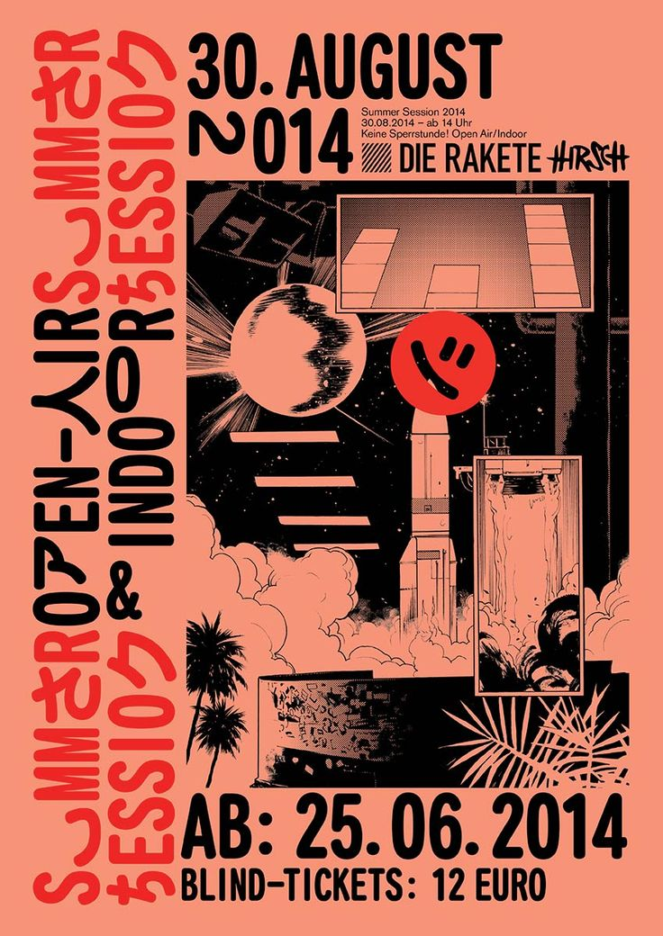 Promotional material for «Die Rakete», one of the top-venues for electronic dance music in Germany.