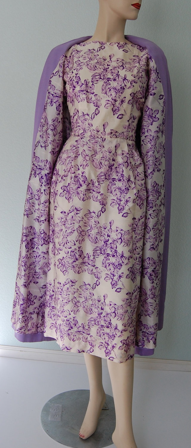 1950s Mancini Silk Shantung Dress with Matching Duster Coat - Lavender and White Floral - Spring Ensmemble. $120.00, via Etsy.