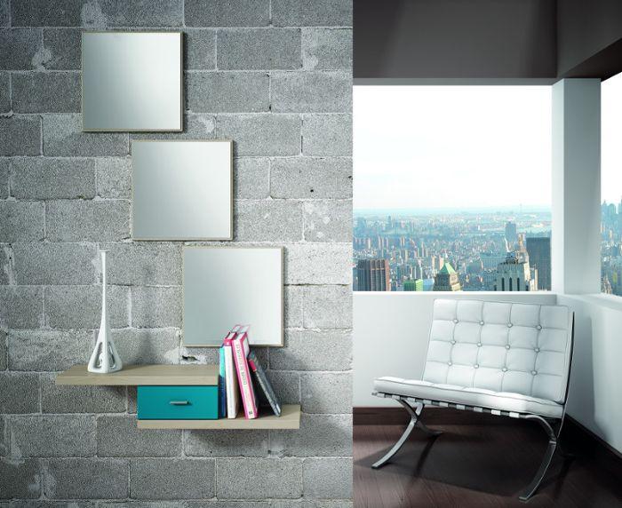 Conjunto recibidor de línea actual, compuesto de tres espejos + mueble consola. Combinación de colores Fresno Estepa/Azúl Opal.