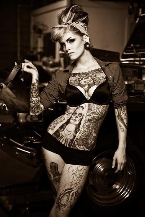 Rockabilly -Love the Tats, Makeup, and hair