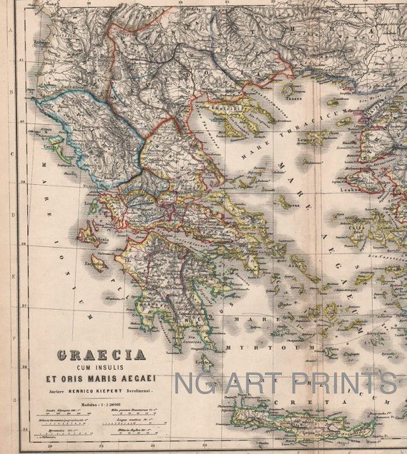1800s Map of Greece 1800s Antique Map  by NGArtPrints, $45.00