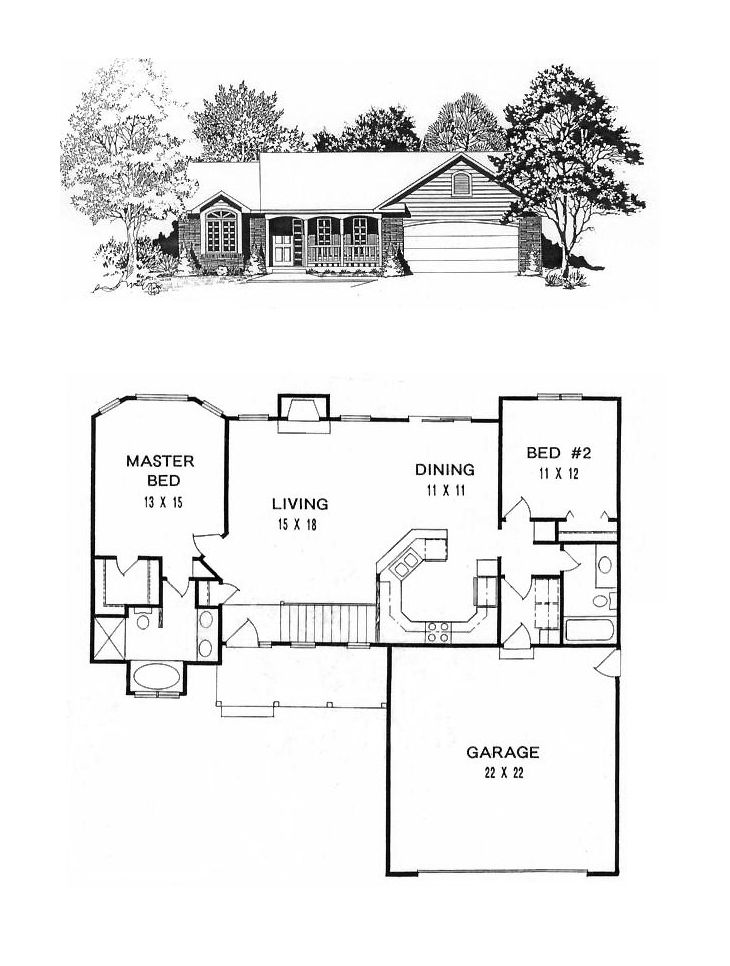 house on plan 1179 ranch style small house plan 2 bedroom split house