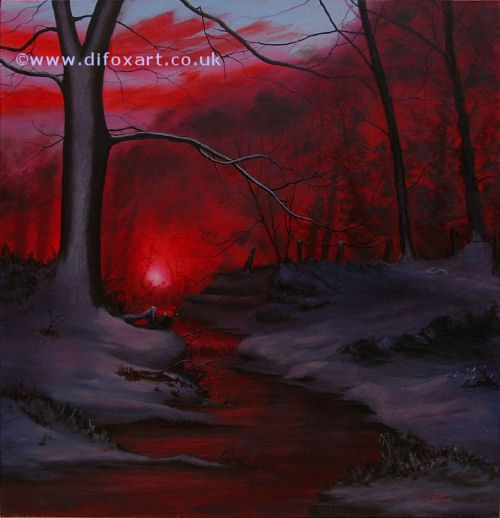 Original Oil painting of an enchanted woodland scene. Painted by artist Di Fox.