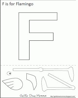 Get Er Done, Momma!: Alphabet Craft: Free F is for Flamingo Template (other letter crafts on her page, not every letter)