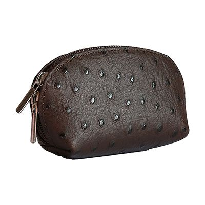 Dark Brown Ostrich Leather Coin Purse - Now with free UK postage!
