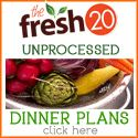 Fresh 20 - dinner plans using only healthy unprocessed foods. I've been using this for about a 6 weeks now and I absolutely love it. Check it out!