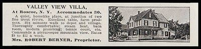 Roscoe 1915 Sull Co Valley View Villa 2 Trout Rivers Junction NY Hotel Photo AD