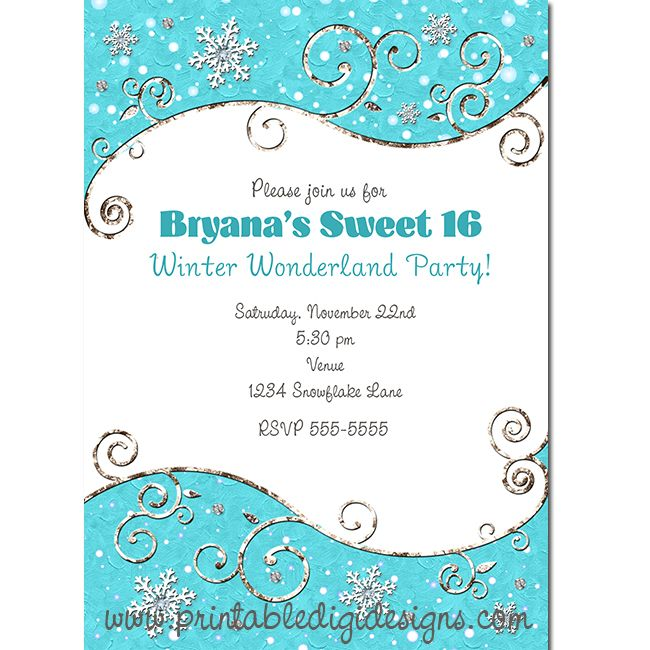 114 best party invitations images on pinterest birthday winter wonderland snowflakes bright blue silver swirls invitation stopboris Gallery