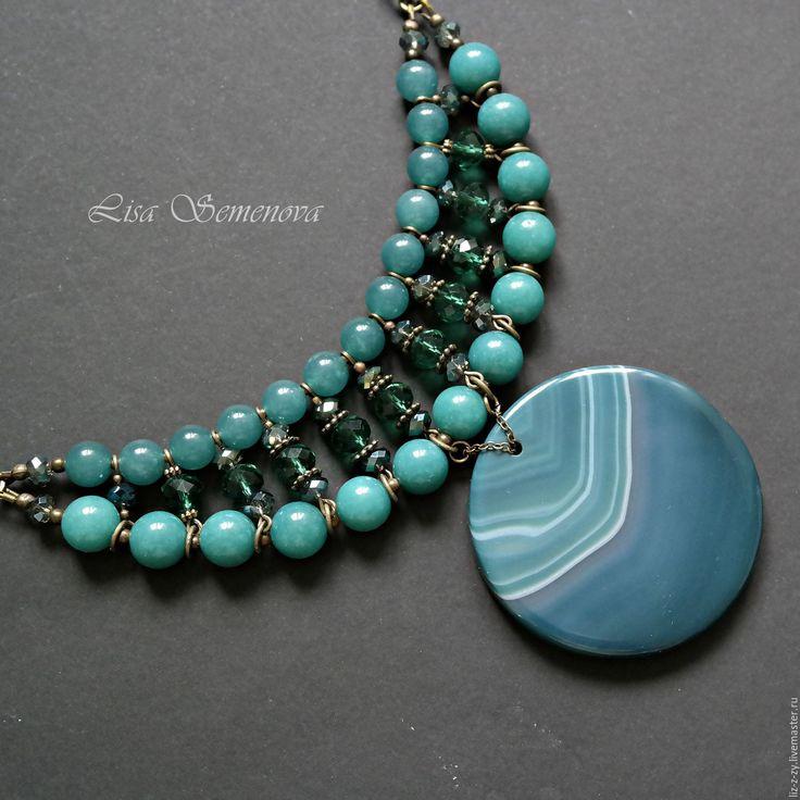 """Купить Колье с агатом """"Глубина"""" - морская волна, изумрудный, зеленый, синий, колье с камнями"""