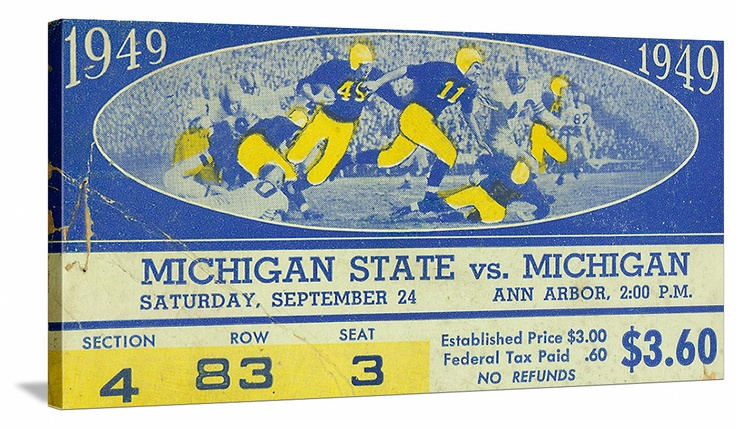 Michigan football tickets! The best vintage Michigan football tickets are at http://www.shop.47straightposters.com/Michigan-Football-Tickets-Michigan-Michigan-State-Detroit_c18.htm