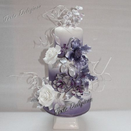 #Bruidstaart #Wedding #Cake #Purple #Silver #Paars en #zilver