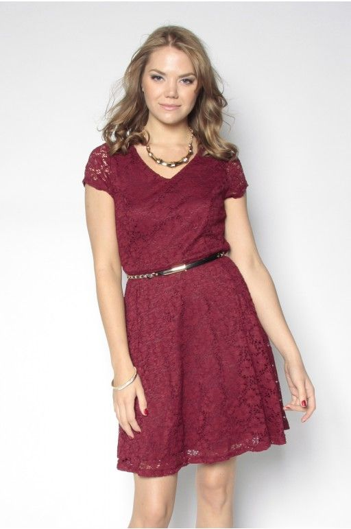 Belted Lace Skater Dress - Suzy Shier