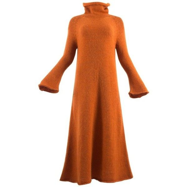 Preowned Yohji Yamamoto Autumn-winter 1998 Orange Knitted Maxi Dress ($1,218) ❤ liked on Polyvore featuring dresses, day dresses, orange, maxi dresses, orange dress, yohji yamamoto, yohji yamamoto dress and maxi length dresses